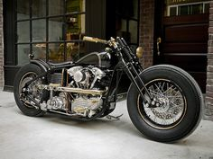 A custom chopper built by Taiwan-based Rough Crafts using a Harley Knucklehead motor from S&S and a frame from Zero Engineering. Harley Davidson Knucklehead, Harley Davidson Custom, Harley Davidson Motorcycles, Bobber Motorcycle, Bobber Chopper, Cool Motorcycles, Bobber Bikes, Vintage Motorcycles, Bobber Custom