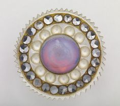 Pearl, cut steels and glass cabochon. Made in Birmingham between 1780 and 1820 collected by James Luckcock.
