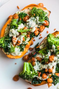 Silky Sweet Potatoes with Cucumber Tahini Ranch, Green Veg and Chickpeas - Golubka Kitchen Vegan Dinners, Healthy Dinner Recipes, Whole Food Recipes, Vegetarian Recipes, Steamed Sweet Potato, Sweet Potato Recipes, Vegan Stuffed Sweet Potato, Clean Eating, Healthy Eating
