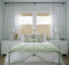 Bed in Front of Window -Cottage, bedroom, Sherwin Williams Sea Salt, Rethink Design Studio