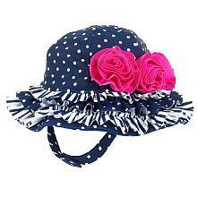 Koala Baby Girls' Navy/White Dotted Ruffle Swim Hat