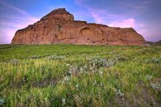 Castle Butte at sunset in the Big Muddy Badlands of Saskatchewan, Canada.