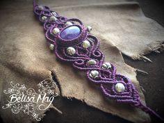 Bracelet macramé améthyste, bracelet macramé violet, bracelet de fée, bracelet pierre semi précieuse, bracelet macramé hippie. de la boutique BelisaMag sur Etsy
