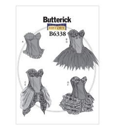 McCalls Pattern B6338-A50 Curved-Hem Corsets and Skirts-6-8-10-12-14