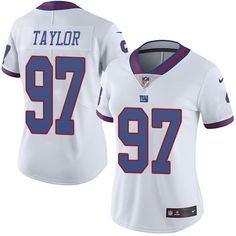 Women's Nike New York Giants #97 Devin Taylor Limited White Rush NFL Jersey