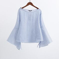Stripe Zip Shoulder Blouses Women Blue Boat Neck Slit Bell Sleeve Tops 2017 Fashion New Spring Elegant Casual Blouse #Affiliate