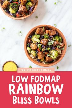 Yummy Low FODMAP Rainbow Bliss Bowls include roasted broccoli and red cabbage, hearty quinoa, crunchy red pepper, and a delicious turmeric-tahini dressing. Budget Freezer Meals, Frugal Meals, Budget Recipes, Ic Recipes, Entree Recipes, Recipes Dinner, Planning Menu, Planning Budget, Fodmap Diet