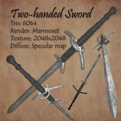 Download free 3D Model Two handed Sword c4d, obj, 3ds, fbx, ma, lwo 89173