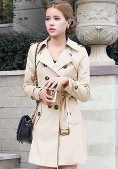 Khaki Plain Epaulet Double Breasted Trench Coat