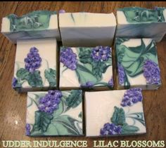 Cold process soap. Such a cool idea. Could be lilacs or you could make it into grapevines if you had a wine scented oil or grape scented.