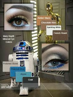 Star Wars Mary Kay makeup looks Makeup Tips, Eye Makeup, Makeup Ideas, Movie Makeup, Makeup Lessons, Disfraz Star Wars, Disney Makeup, Mary Kay Cosmetics, Halloween Looks