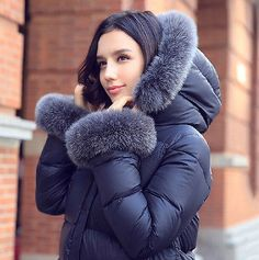 Women's Lush Luxury Real Fur Collar Hooded Thick Parka Coat Down Outwear Jacket  | Clothing, Shoes & Accessories, Women's Clothing, Coats & Jackets | eBay!