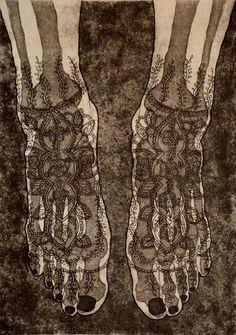 "Tokoha Matsuda. Under the Surface. The Feet, 2009. Etching, aquatint, 14 x 10""."