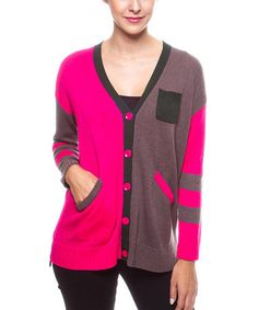 This Fuchsia & Purple Color Block Cardigan by Cecico is perfect! #zulilyfinds