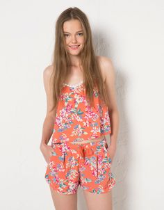 BSK floral print strappy top with crochet back. Discover this and many more items in Bershka with new products every week