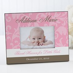 Darling baby girl personalized picture frame beautiful babies floral damask personalized baby frame negle Image collections