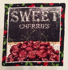Sweet Cherries Mug/Candle Rug by ThePlaidPiecemaker on Etsy