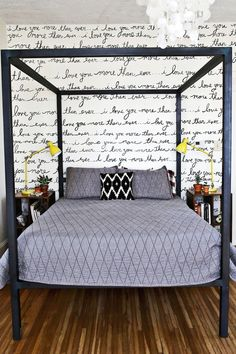 romantic bedroom/statement wall