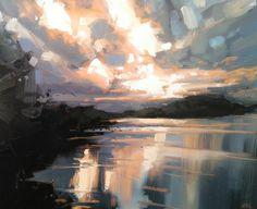 Bosley Mere . . . . . #cheshire #cheshirecountryside #landscape #painting #landscapepainting #oils #oilpainting #oilonboard #evening #reflections #sunset #water #summer #sky