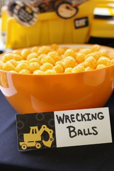 Wrecking Balls Construction Party Food and Construction Tablescape. Construction Hard Hats with Under Construction Sign. Under Construction Party Ideas - Hard Hat Required! Under Construction Party Ideas - Hard Hat Required! Construction Birthday Parties, 4th Birthday Parties, Birthday Fun, Birthday Ideas, Third Birthday, Construction Party Foods, Construction Birthday Invitations, Under Construction Theme, Digger Birthday