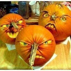 Use the stem of the pumpkin & then draw the rest of the face on it to make them look scarier!