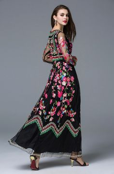 Runway Designer, Long Gauze Floral Embroidery Dress (US Curvy Fashion, Modest Fashion, Fashion Outfits, Lovely Dresses, Vintage Dresses, Buy Dress, Lace Dress, Simple Casual Outfits, Floral Embroidery Dress