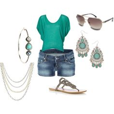 Summer Teal.  Love the jewelry and sandals