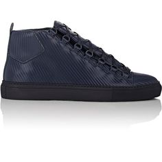 Balenciaga Men's Carbon-Effect Arena High-Top Sneakers ($635) ❤ liked on Polyvore featuring men's fashion, men's shoes, men's sneakers, navy, balenciaga mens sneakers, mens navy blue sneakers, mens hi top shoes, mens lace up shoes and mens sneakers