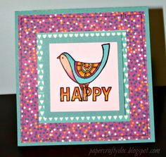 Happy card 2 using Happy birds stamp set, washi tape, confetti wishes paper pack, and Shin Han twin touch markers!