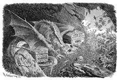 Dragen (The Dragon) by Theodor Kittelsen Nature Paintings, Watercolor Paintings, Most Popular Artists, Russian Folk Art, Beautiful Sketches, Mythological Creatures, Children's Book Illustration, Faeries, Dark Art