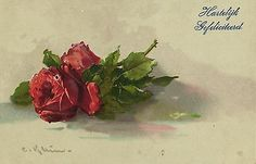 Catherine Klein red roses  flowers artist signed postcard 1921