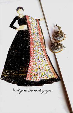 New Indian Bridal Wear Illustration Sketch Ideas Dress Design Drawing, Dress Design Sketches, Fashion Design Sketchbook, Fashion Design Drawings, Fashion Figure Drawing, Fashion Drawing Dresses, Dress Illustration, Fashion Illustration Dresses, Fashion Model Sketch