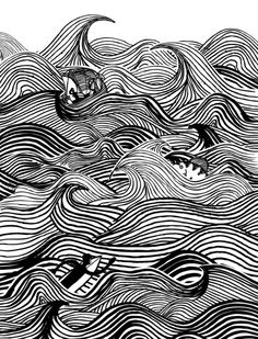 Heavy Surf Art Print This is the kind of design I imagine us going with; love the stencil/pencil look as well as the use of waves