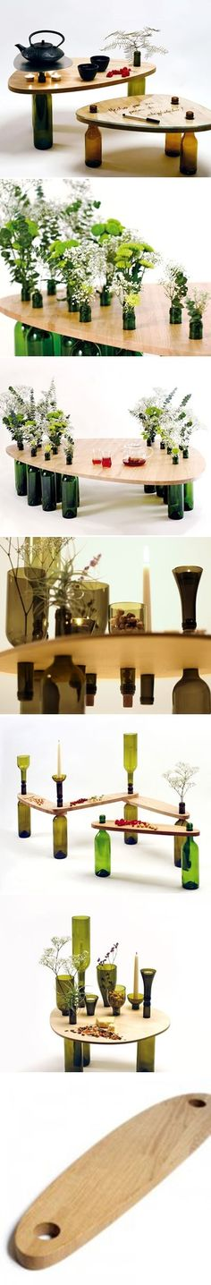 DIY Used Wine Bottle Table