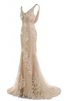 Sunvary Romantisch Neu 2014 Spitze Mermaid Traeger Abendkleid Ballkleider-32-Champagner