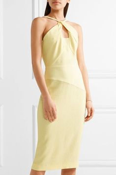 Roland Mouret - Mervyn Cutout Crepe-paneled Cloqué Dress - Pastel yellow - UK10
