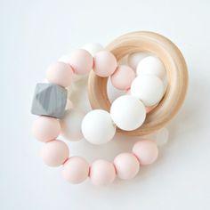 Trinity Wood   Silicone Teether - Pink Quartz