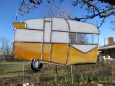 Stained Glass Trailer Suncatcher Vintage by TheHuckleberryBucket