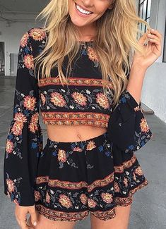 #summer #outfits / Pattern Print Two Piece Playsuit