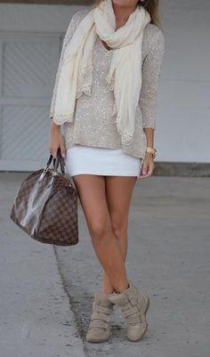 Louis Vuitton Damier Ebene Speedy <3  OMG I LOOOOOVE the Shirt. Skirt is SUPER-Cute too.  The Rest I'd Pass on though?!  =o}