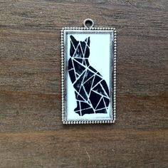 Black cat pendant / cat jewelry / cat necklace / Halloween jewelry / geometric jewelry
