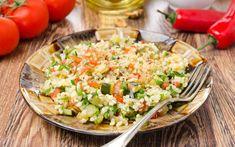 Σαλάτα με πλιγούρι και κολοκυθάκια – Newsbeast Rice Salad, Salad Bar, Pasta Salad, Cobb Salad, Potato Salad, Vegetable Rice, Red Peppers, Bite Size, Veggie Recipes