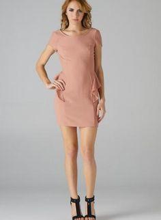 Rose Pink Asymmetric Peplum Dress with Scoop Back,  Dress, peplum dress  fitted dress, Chic