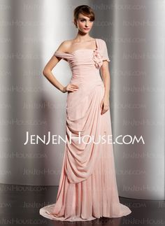 Evening Dresses - $152.99 - A-Line/Princess Off-the-Shoulder Court Train Chiffon Evening Dresses With Ruffle (017014578) http://jenjenhouse.com/A-Line-Princess-Off-The-Shoulder-Court-Train-Chiffon-Evening-Dresses-With-Ruffle-017014578-g14578