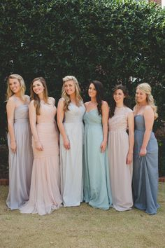 pastel mismatched bridesmaids | Photography: Spindle Photography - spindlephotography.com/  Read More: http://www.stylemepretty.com/2014/06/25/summer-wedding-inspiration-with-pewter-accents/