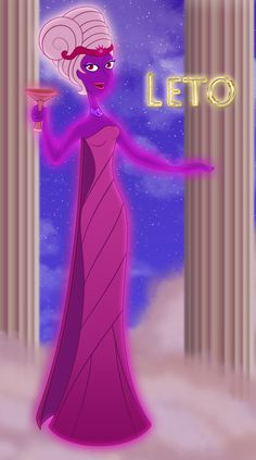 *GODDESS LETO O~a daughter of the Titans Coeus (god+devine incarnation of the celestial axis)+Phoebe (goddess+divine incarnation of the Moonglow)+the sister of Asgteria(goddess of the stars),The island of Kos is claimed as her birthplace.Leto was worshiped as a goddess of the day + night, mother of the sun + moon.She became pregnant from Zeus + had two twins, who were the gods Apollo + Artemis, which at birth quickly defended his mother from the fury + bitter attacks goddess Hera.