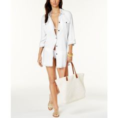 Dotti Shirtdress Cover-Up ($49) ❤ liked on Polyvore featuring swimwear, cover-ups, white, beach cover ups, white beach cover ups, white swim cover up, white beach cover up and swimsuit cover ups