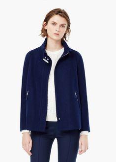 Abrigo lana cremalleras | MANGO
