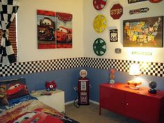 Boys Cars Route 66 Room, This room was inspired by my sons love of Disney Cars and the great Lightning McQueen. I mixed his desires with a vintage Route 66 garage feel. , Boys Rooms Design AMANDA thought you mite enjoy this. Disney Cars Bedroom, Boys Car Bedroom, Car Themed Bedrooms, Big Boy Bedrooms, Bedroom Themes, Bedroom Decor, Bedroom Ideas, Bedroom Inspiration, Dream Bedroom