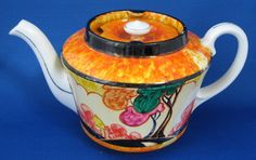 Teapot Art Deco Cottage Artist Signed 1932 Orange Trees Hand Painted – Antiques And Teacups